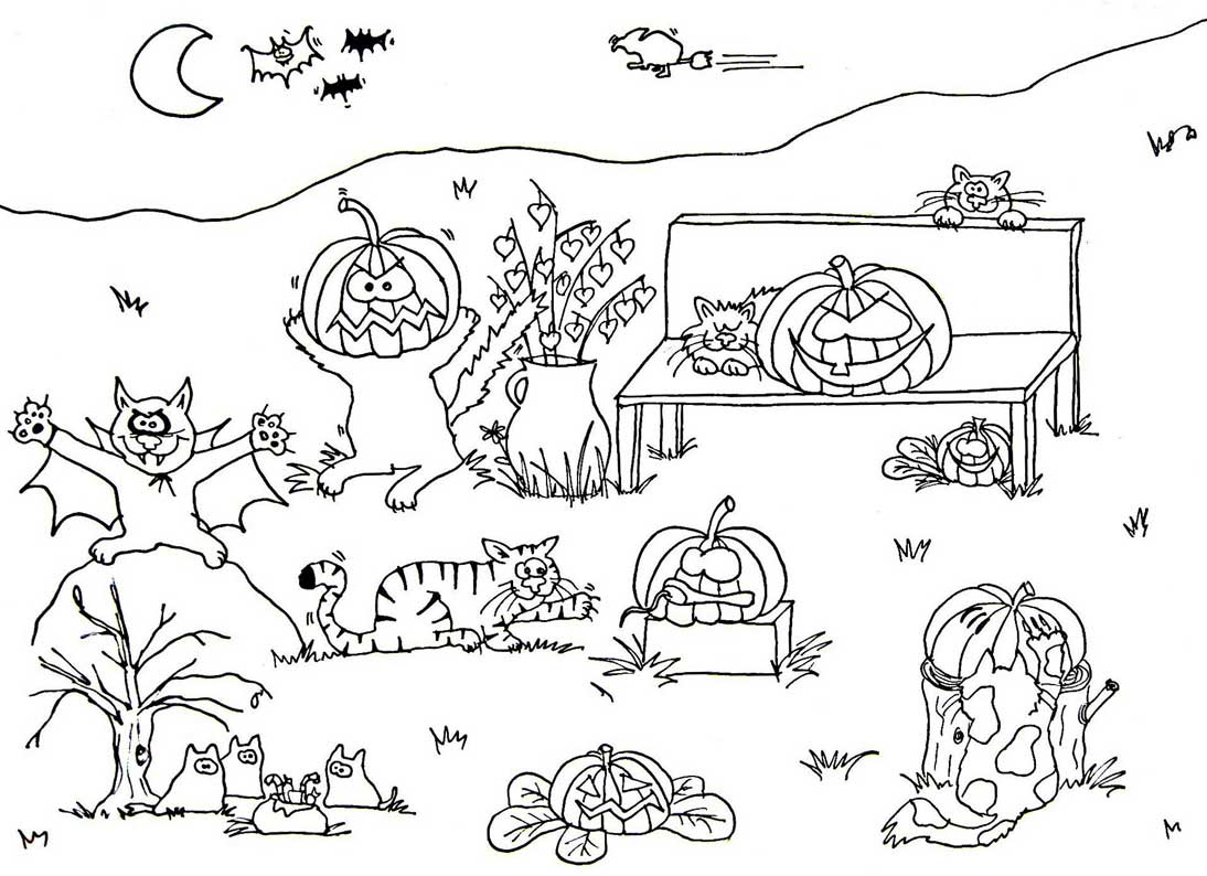 Gro Es Halloweenbild Zum Ausmalen Wuschels Malvorlagen