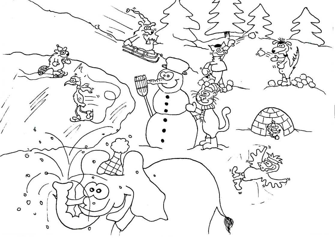 Ausmalbilder Winter : Gro Es Winterausmalbild Wuschels Malvorlagen